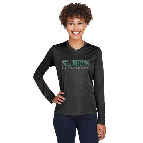 SJC Team 365 Ladies' Zone Performance Long-Sleeve T-Shirt - Black (SJC-032-BK)