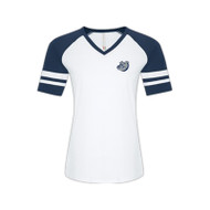 OLL ATC Eurospun Ring Spun Baseball Ladies' Tee - White/True Navy (OLL-038-WH)