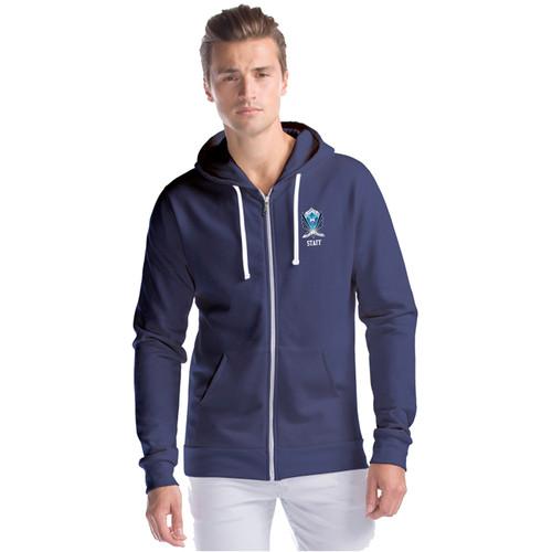 SMC Men's Three-End Bamboo Full Zip Hooded Sweatshirt - Navy (SMC-017-NY)