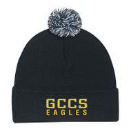 GCC AJM Adult Cuff Pom Pom Toque - Black/Charcoal/White (GCC-007-OS)