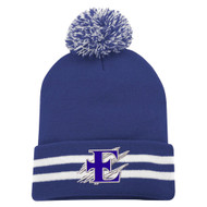 EDN Striped Cuff Pom Pom Toque - Royal (EDN-054-RO.SN-C1202-ROY-OS)