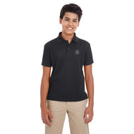 MRO Core 365 Youth Origin Performance Piqué Polo with Faith-Based Logo - Black (MRO-303-BK)