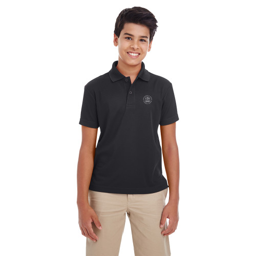 MRO Core 365 Youth Origin Performance Piqué Polo with Faith-Based Logo - Black (MRO-303-BK)