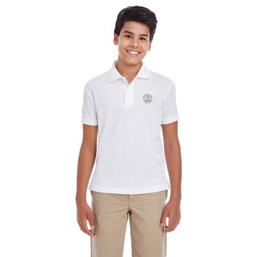 MRO Core 365 Youth Origin Performance Piqué Polo with Faith-Based Logo - White (MRO-303-WH)