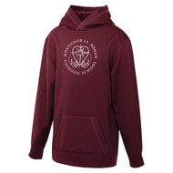 MRO ATC Game Day Fleece Hooded Youth Sweatshirt with Faith-Based Logo - Maroon (MRO-308-MA)