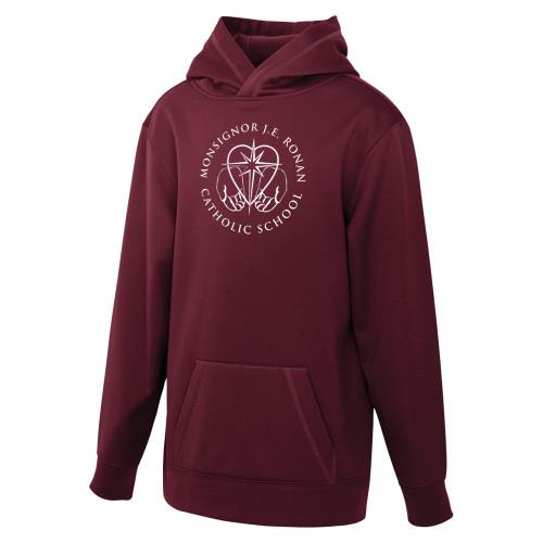 MRO ATC Game Day Fleece Hooded Youth Sweatshirt with Faith-Based Logo - Maroon (MRO-308-MA)