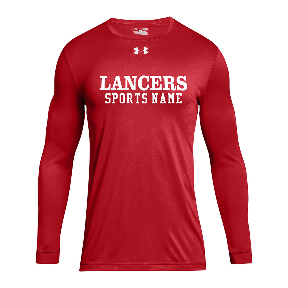 50155902d LCC Under Armour Men's Locker Tee 2.0 Long Sleeve with Sports Name - Red