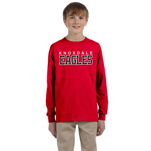 KPS Gildan Youth Ultra Cotton Long Sleeve T-Shirt - Red (KPS-308-RE)