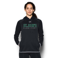 SJC Under Armour Women's Double Threat Fleece Hoody - Black/Steel (SJC-034-BK)