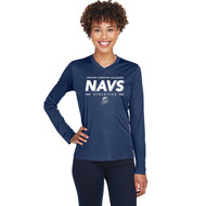 NCC Team 365 Ladies Zone Performance Long-Sleeve T-Shirt - Sport Dark Navy (NCC-208-NY)