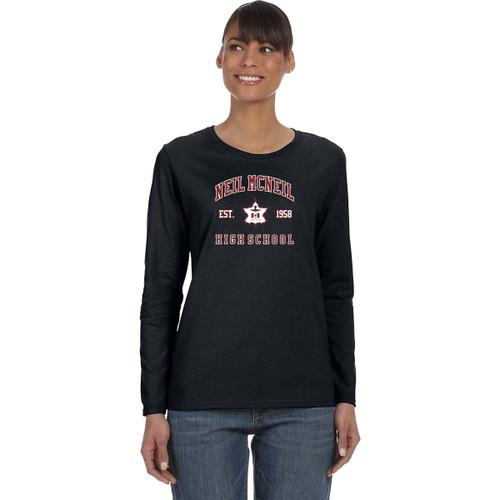 NMC Gildan Heavy Cotton Ladies Long Sleeve T-shirt (Staff) - Black (NMC-203-BK)