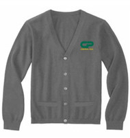 CPS Adult V-Neck Long Sleeve Button Front Cardigan w/Pockets - Heather Grey