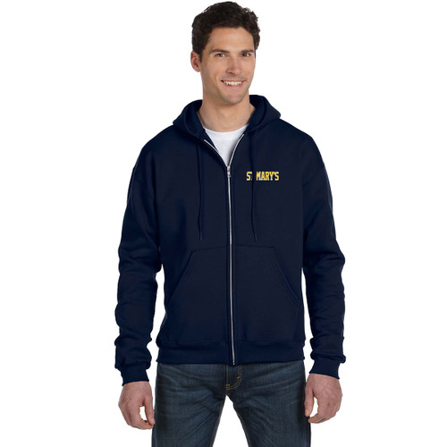 Adult Powerblend ECO Fleece Full Zip Hood - Navy (SML-001-NY)
