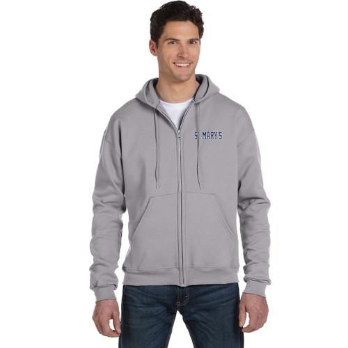 Adult Powerblend ECO Fleece Full Zip Hood - Steel (SML-001-ST)