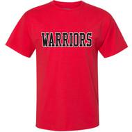 VHC Champion Adult Ringspun Cotton T-Shirt w/ Warriors Logo - Red (VHC-005-RE)