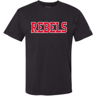 VHC Champion Adult Ringspun Cotton T-Shirt w/ Rebels Logo - Black (VHC-007-BK)