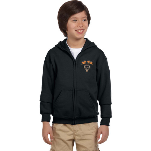 FFC Gildan Youth Full Zip Hooded Sweatshirt - Black (FFC-304-BK)