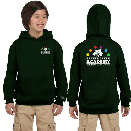 BCA Champion Youth Double Dry Eco Pullover Hood - Dark Green (BCA-301-DG)