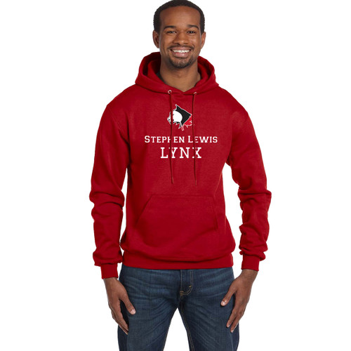 SLS Champion Men's Double Dry Eco Pullover Hood (Design 1) - Red (SLS-125-RE)