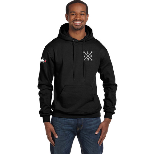 SLSS Champion Men's Double Dry Eco Pullover Hood (Design 3) - Black (SLS-131-BK)
