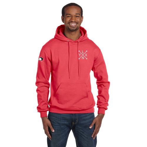 SLSS Champion Men's Double Dry Eco Pullover Hood (Design 3) - Scarlet (SLS-131-SC)
