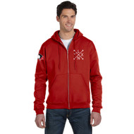 SLSS Champion Men's Double Dry Eco Full-Zip Hood - Scarlet (SLS-133-SC)