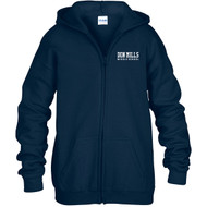 """DMM Embroidered """"Don Mills Middle School"""" Youth Zippered Hoodie - Navy (DMM-321-NY)"""