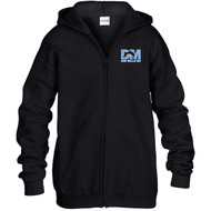 """DMM Embroidered """"Don Mills MS"""" Logo Youth Zippered Hoodie - Black (DMM-322-BK)"""