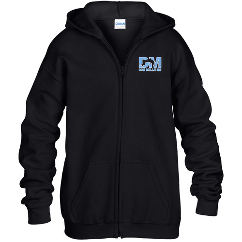 "DMM Embroidered ""Don Mills MS"" Logo Youth Zippered Hoodie - Black (DMM-322-BK)"