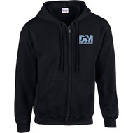 """DMM Embroidered """"Don Mills MS"""" Logo Adult Zippered Hoodie - Black (DMM-022-BK)"""