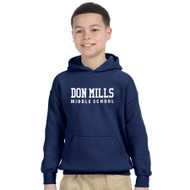 DMM Gildan Youth Heavy Blend 50/50 polycotton Hoodie - Navy - Embroidery Design