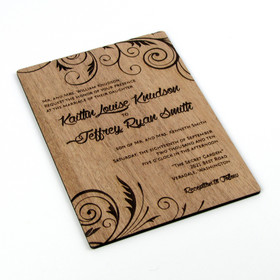 "Solid Wood Invitation - ""Embellished Vines"" Design"