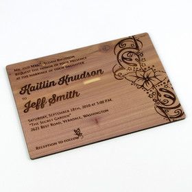 "Solid Wood Invitation - ""Playful Ink"" Design"