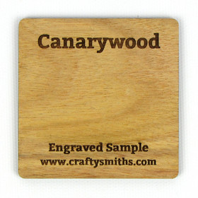 Canarywood - Tier 5 Exotic Hardwood - Engraved Sample Chip