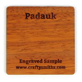 Padauk - Tier 4 Exotic Hardwood - Engraved Sample Chip