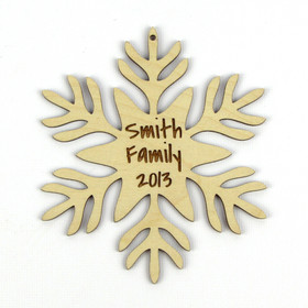 """Christmas Morning"" Personalized Wood Snowflake Ornament"
