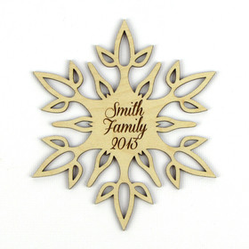 """Delicate Flower"" Personalized Wood Snowflake Ornament"