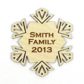 """Geometric"" Personalized Wood Snowflake Ornament"