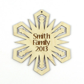 """Glowing Star"" Personalized Wood Snowflake Ornament"
