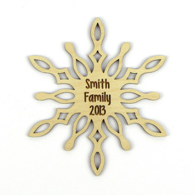 """Icy Spike"" Personalized Wood Snowflake Ornament"