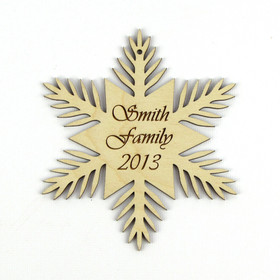 """Pine Flower"" Personalized Wood Snowflake Ornament"