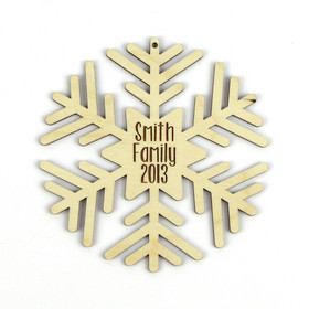 """Round Flake"" Personalized Wood Snowflake Ornament"