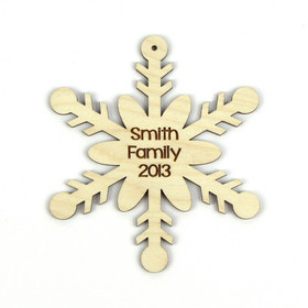 """Snow Bow"" Personalized Wood Snowflake Ornament"