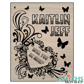 """Will You Be Mine"" Butterflies Keepsake Sign with Optional Message on Back"