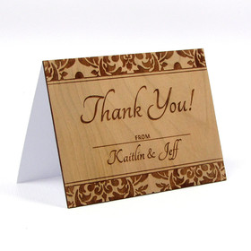 "Wood Thank You Card - ""Elegant Damask"" Design"
