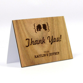 "Wood Thank You Card - ""Facial Silhouettes"" Design"