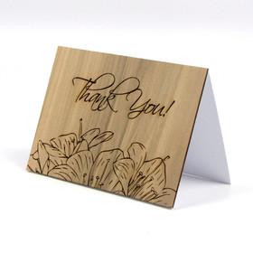 "Wood Thank You Card - ""Floral Sketch"" Design"