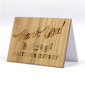 "Wood Thank You Card - ""Rustic Leaf"" Design"