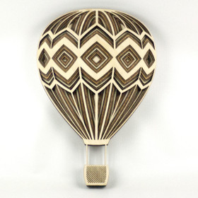 """Diamond Hot Air Balloon"" - 3D Layered Wood Art - Version C"