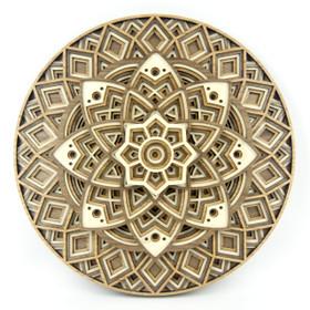 """Lotus Mandala"" - 3D Layered Wood Art - Version B"